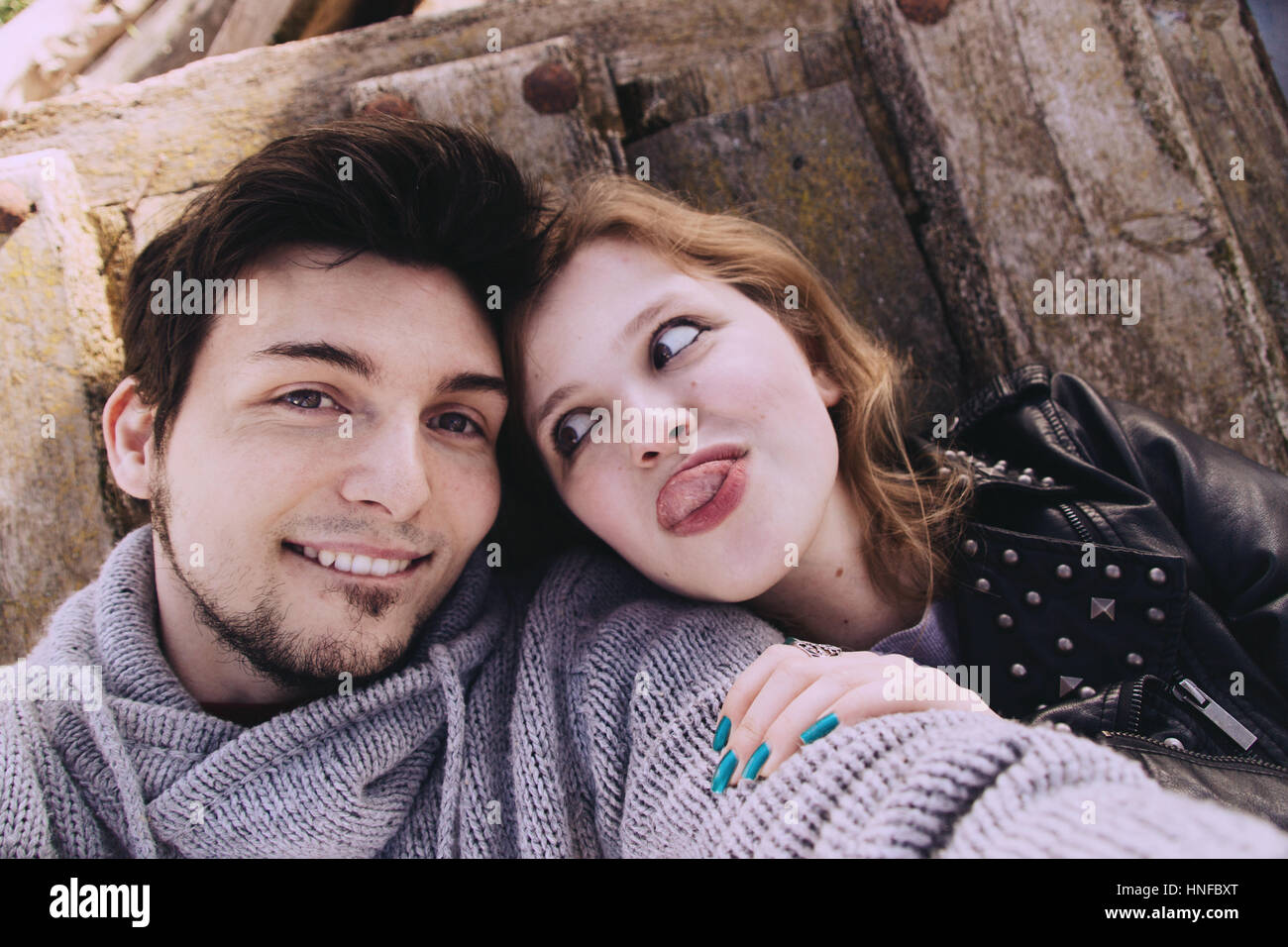 Young couple having fun and great moments together - Stock Image