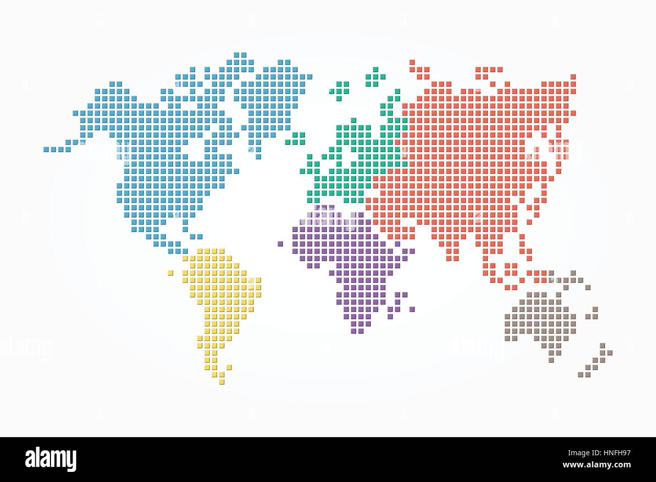 World map pixel style and flat color design different color of world map pixel style and flat color design different color of continent gumiabroncs Gallery