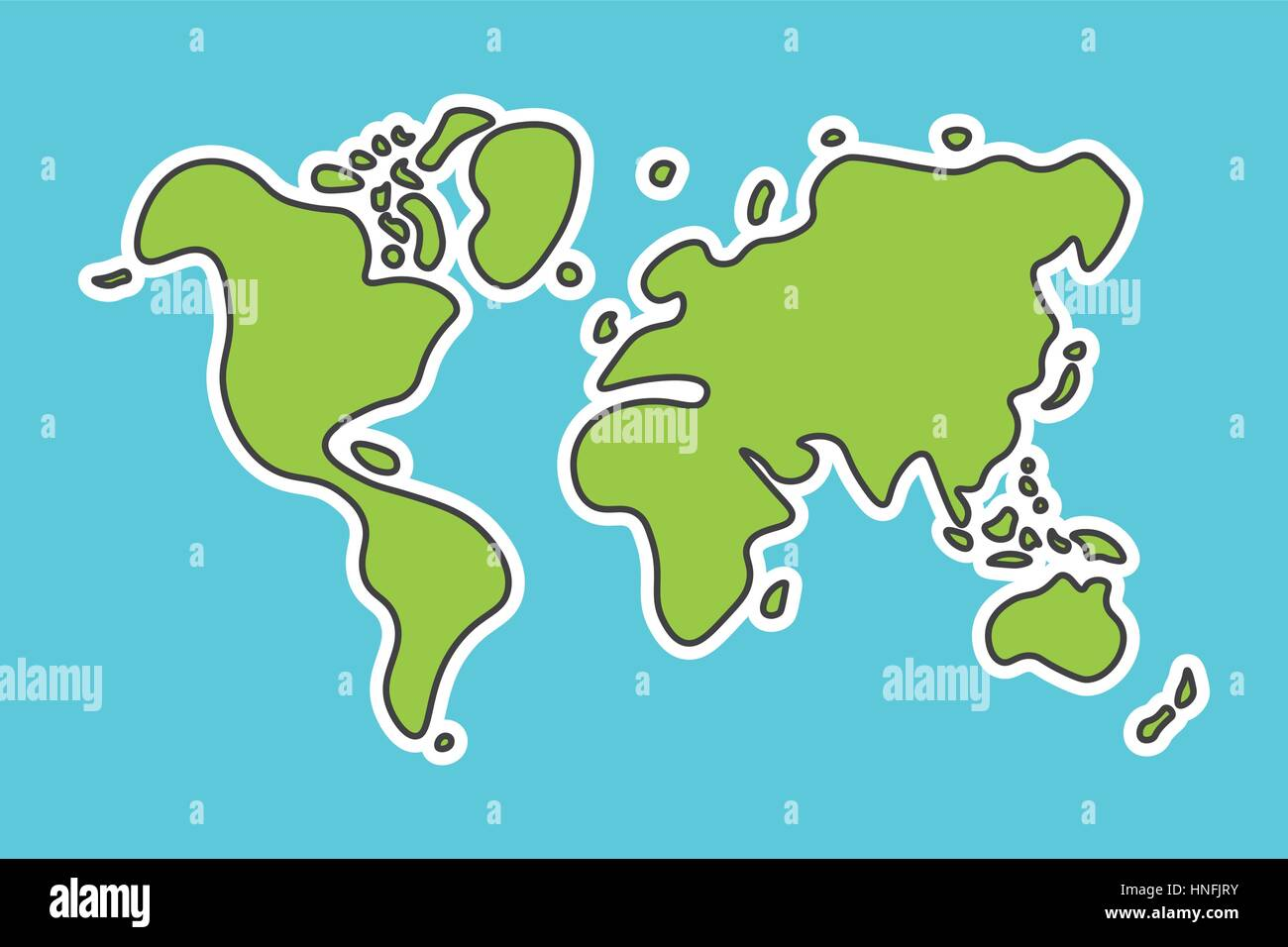 Doodle style world map look like children craft painting stock doodle style world map look like children craft painting gumiabroncs Images