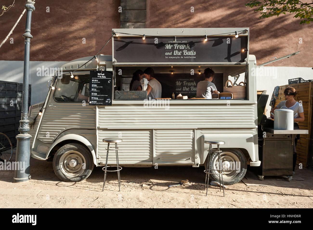 Food truck Mr. Frank and the Butis de Barcelona, Catalonia. - Stock Image
