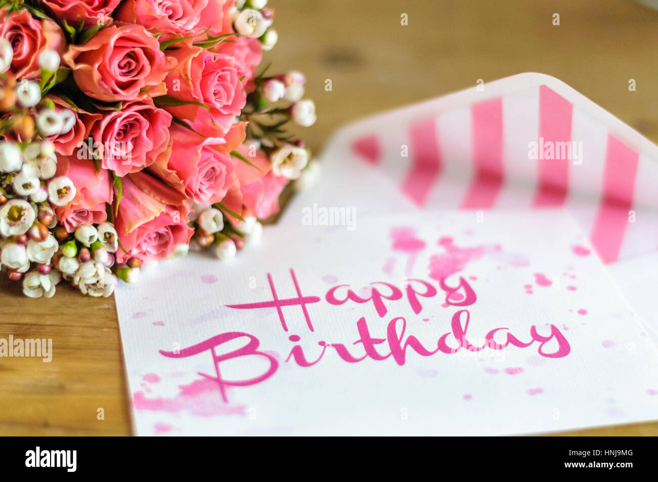 Happy birthday greeting card with color fitting bouquet of flowers happy birthday greeting card with color fitting bouquet of flowers izmirmasajfo