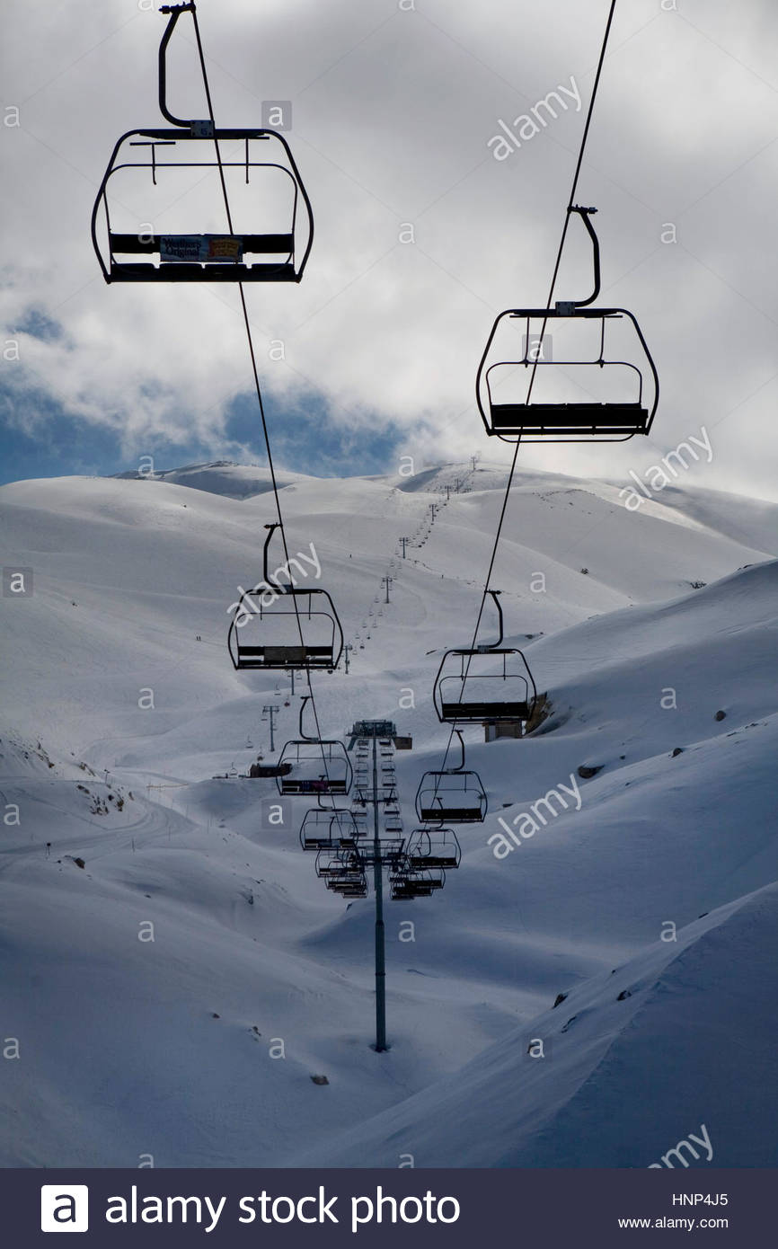 The wealthy Lebanese party scene and ski resort of Faraya near Beirut. - Stock Image