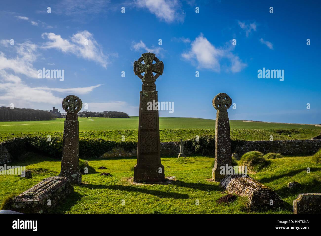 Crosses in graveyard - Stock Image
