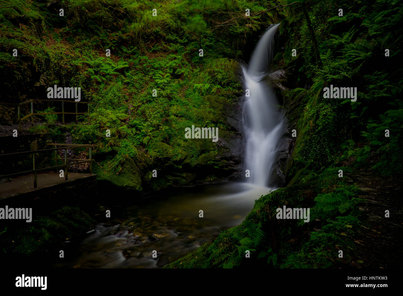 Welsh waterfall - Stock Image