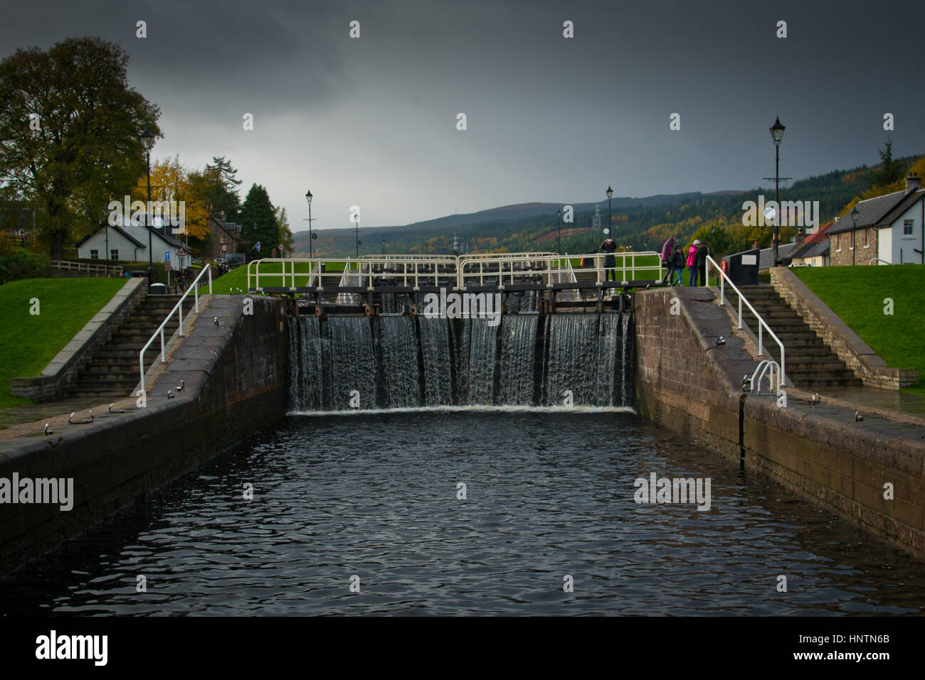 Caledonian Canal Lock at Fort Augusta - Stock Image