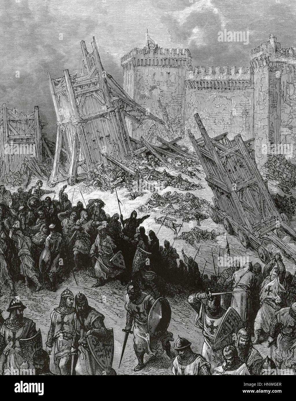 First Crusade (1096-1099). The siege of Antioch. It took place from 21  october, 1097 to 2 June, 1098. Engraving by Gustave Dore (1832-1883).