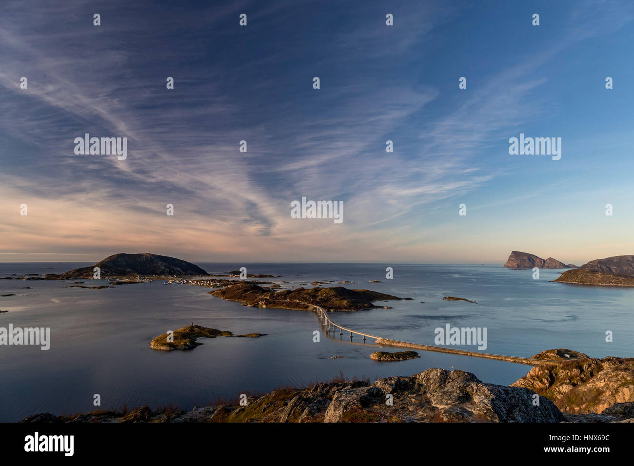 View of famous Sommaroy Bridge crossing from Kvaloya Island to Sommaroy Island in autumn, Arctic Norway Stock Photo