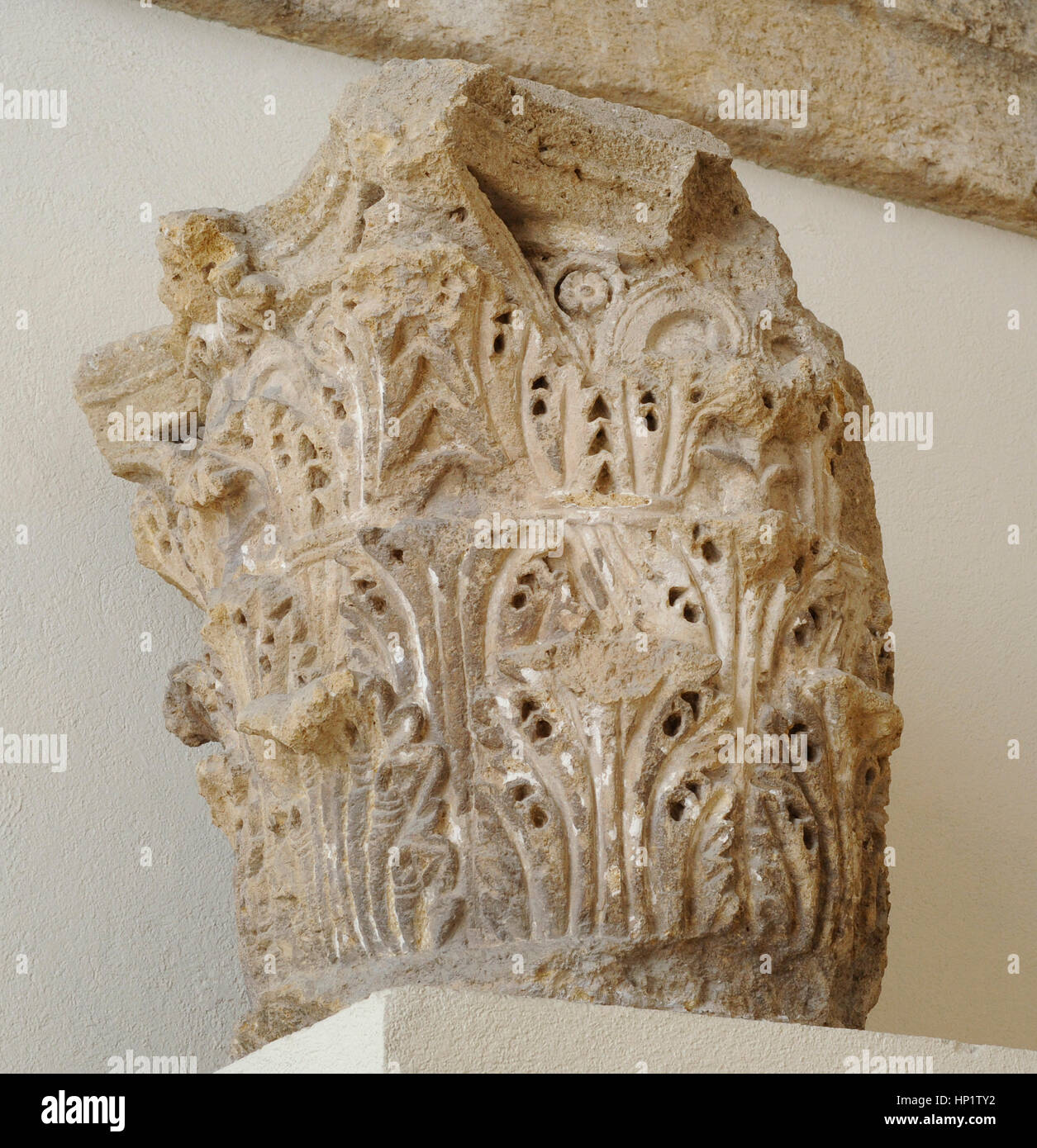 Corinthian capital decorated with acanthus leaves. From Roman theater of Tarragona. 1st Century BC-1st century AD. - Stock Image