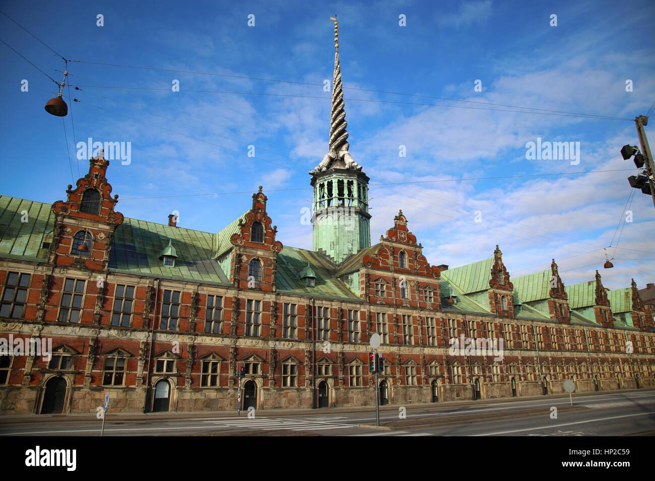 The Borsen, Oldest Building in Slotsholmen, in Copenhagen, Denmark - Stock Image