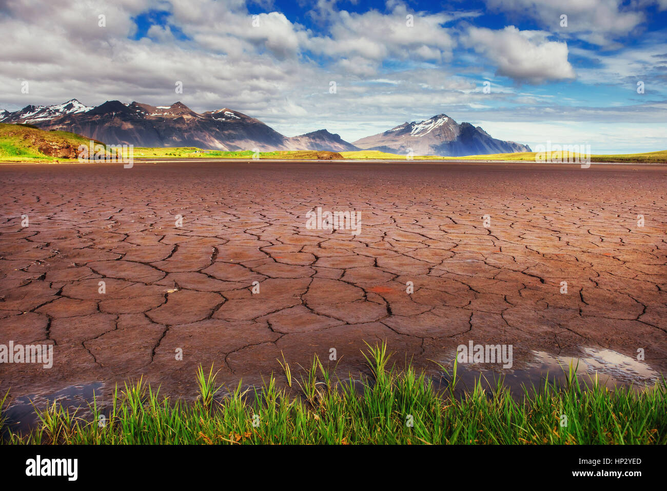 Gentle slopes of snow-capped mountains and glaciers. Wonderful I - Stock Image