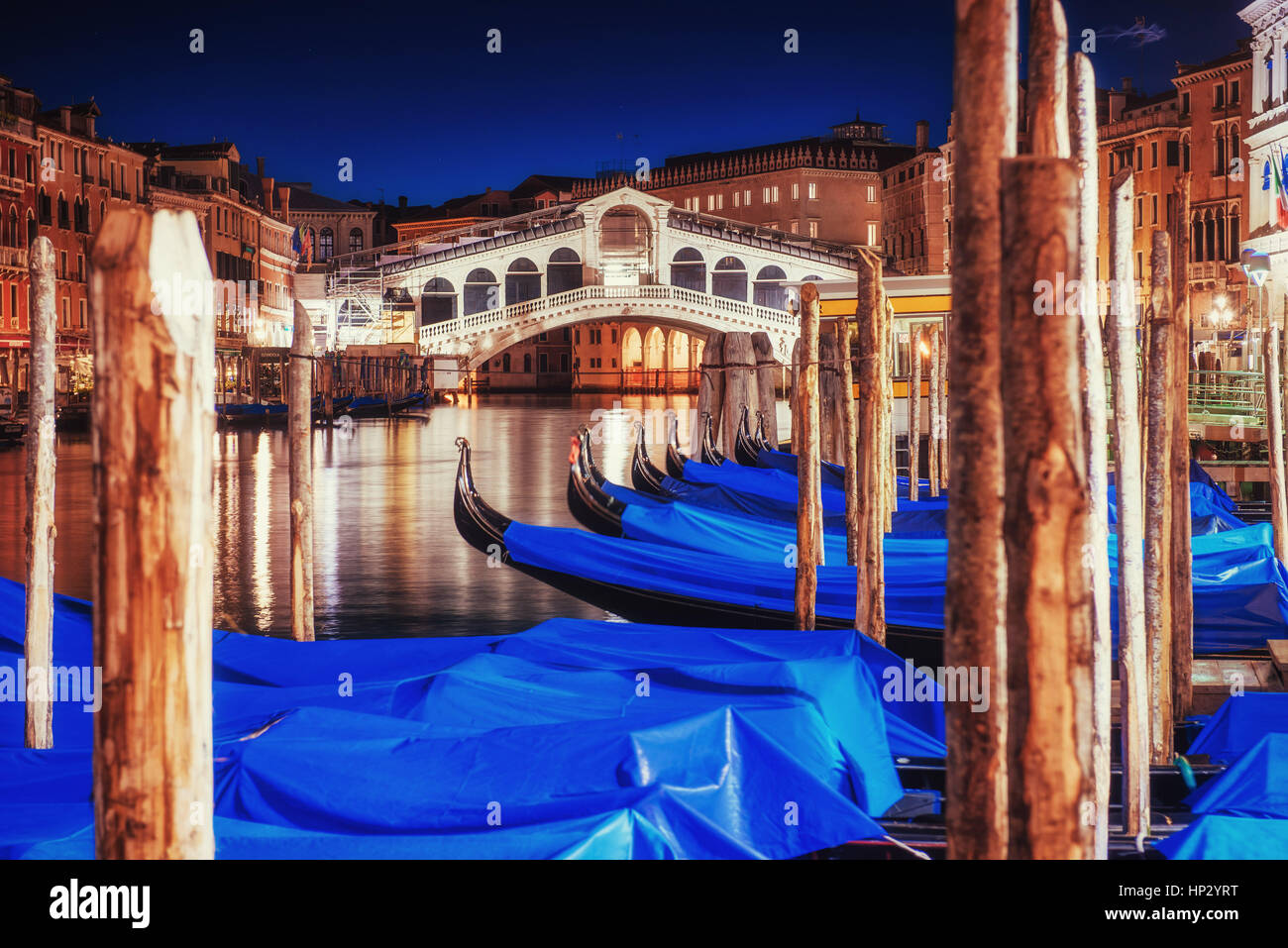 City landscape. Rialto Bridge in Venice - Stock Image