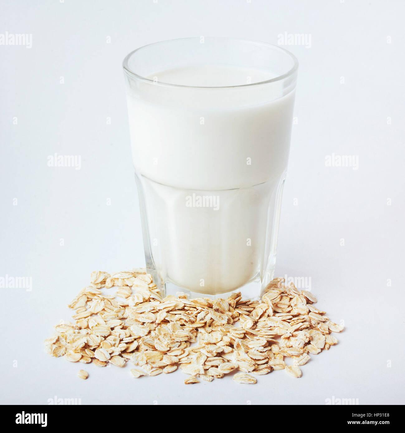 Morning porridge, wheat and glass of milk Stock Photo