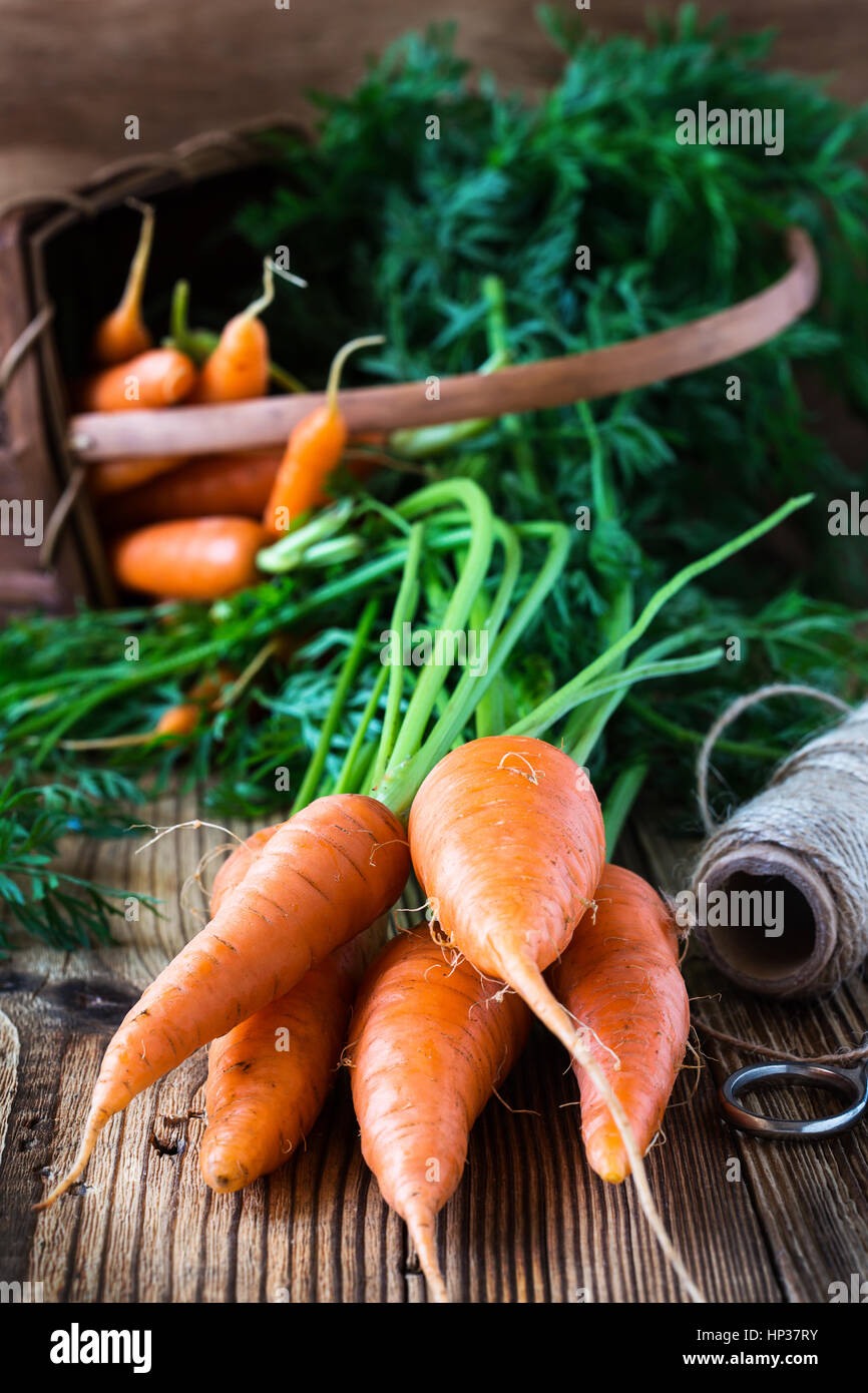 Fresh organic carrots on  rustic wooden background - Stock Image