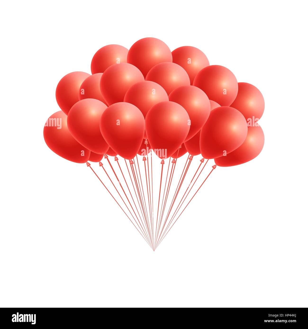 Vector bunch birthday or party red balloons. Design element for ...