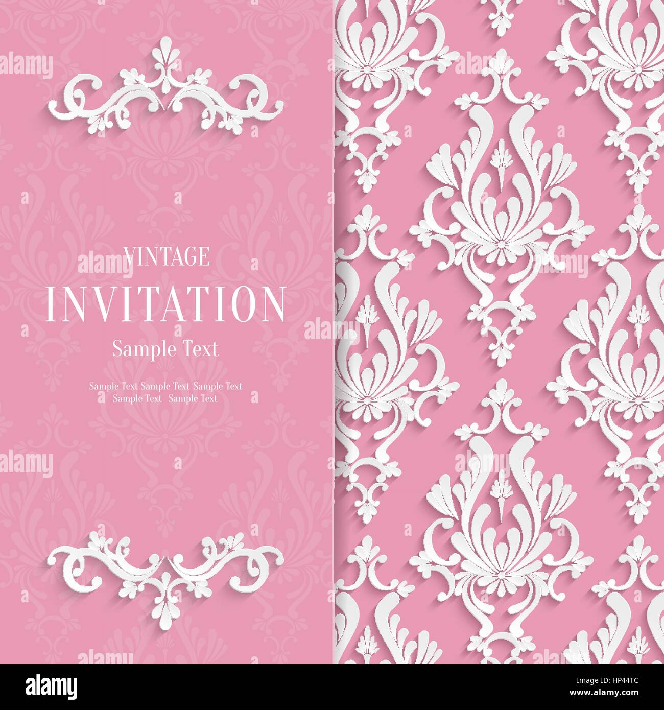 Vector pink floral 3d wedding invitation background template stock vector pink floral 3d wedding invitation background template stopboris Choice Image