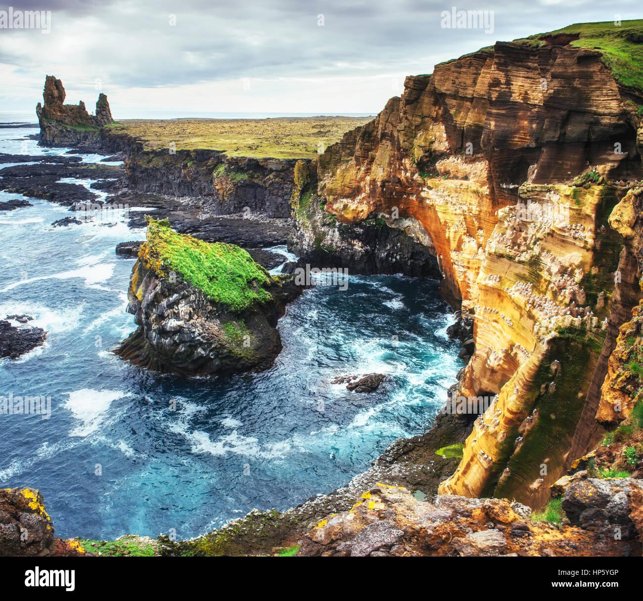 Scenic view of coastline at Arnarstapi Iceland - Stock Image