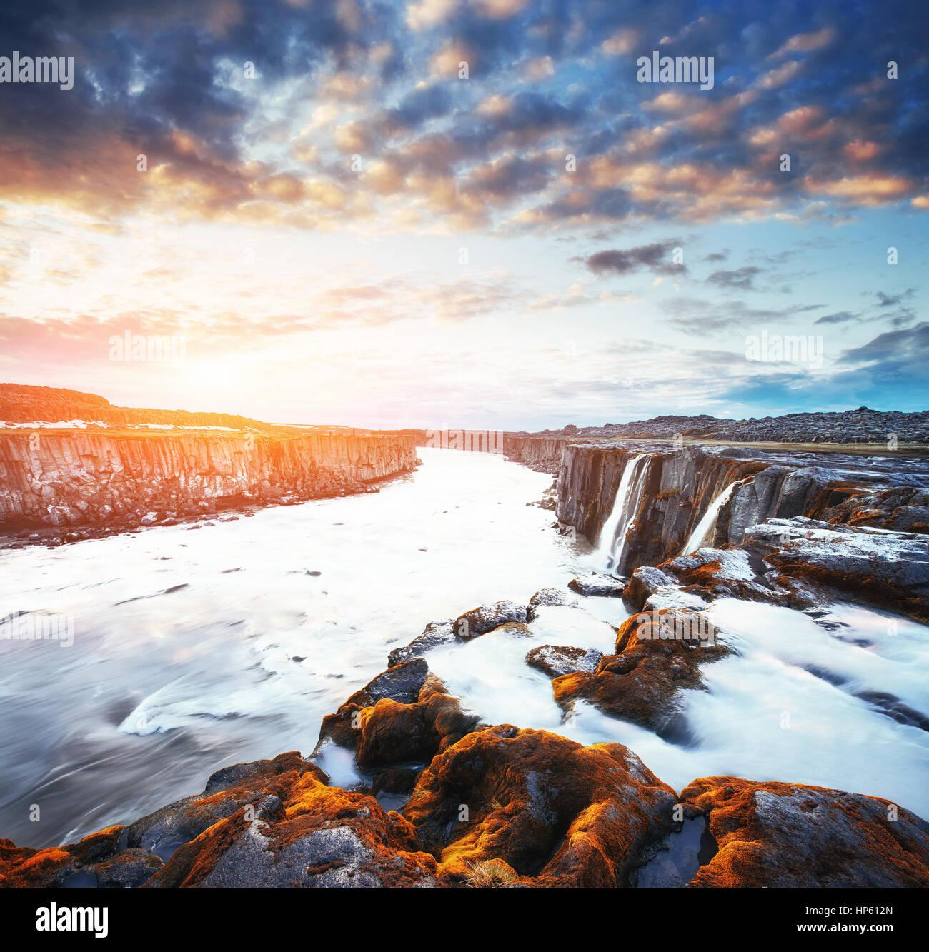 Fantastic views of Selfoss waterfall in the national park Vatnaj - Stock Image