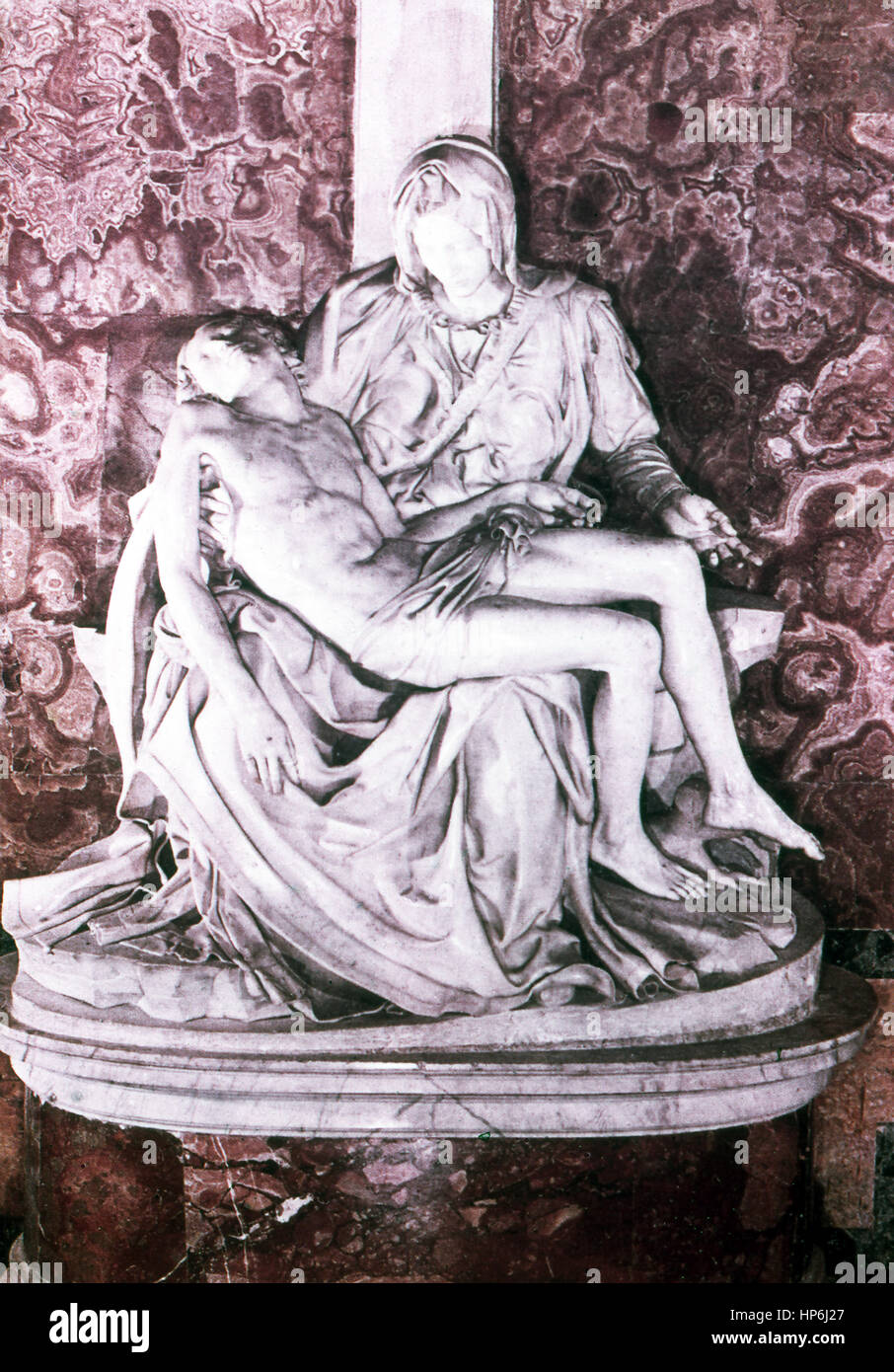 This sculpture by the Italian sculptor painter Michelangelo (1475-1564) is titled Pieta. The Italian sculptor, painter, - Stock Image