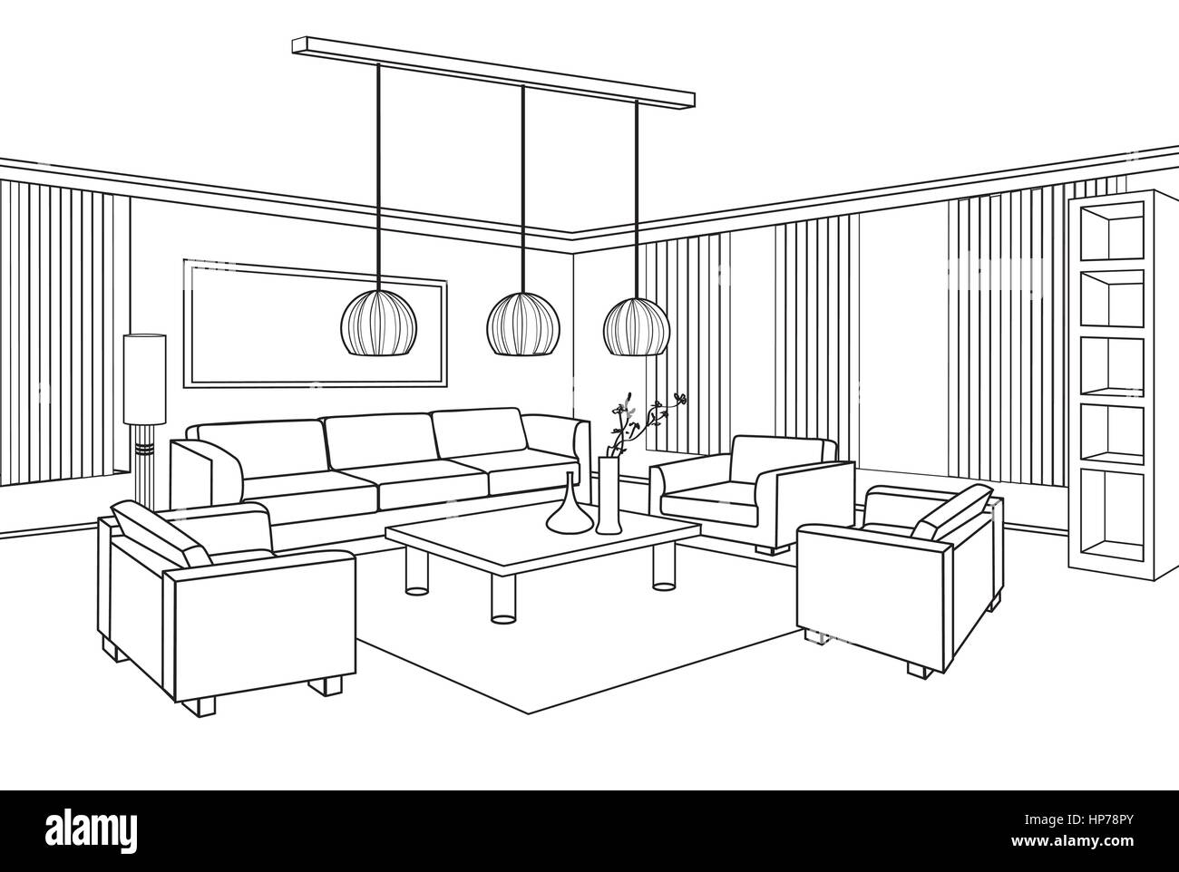Living room view interior outline sketch furniture blueprint stock living room view interior outline sketch furniture blueprint malvernweather Choice Image