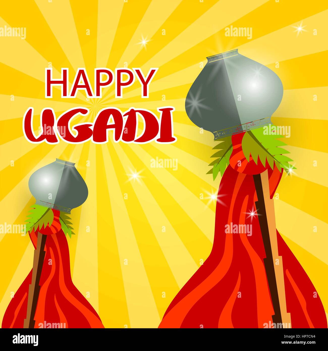 Happy ugadi celebration of india vector illustration background happy ugadi celebration of india vector illustration background happy gudi padwa lettering template greeting card holiday grey festive pot bamboo m4hsunfo