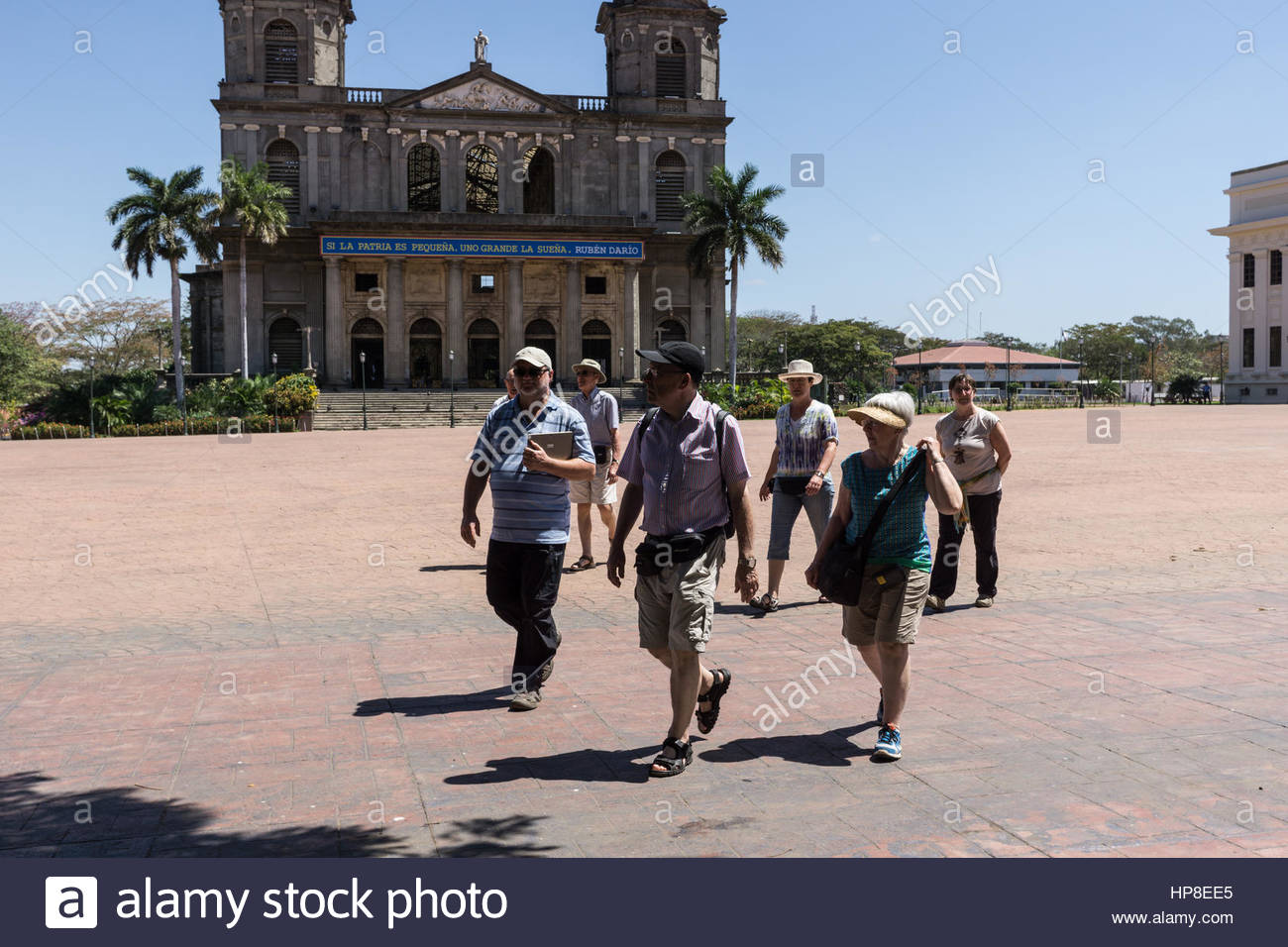 Tourists at the Plaza de la Revolución in Managua, Nicaragua Stock Photo