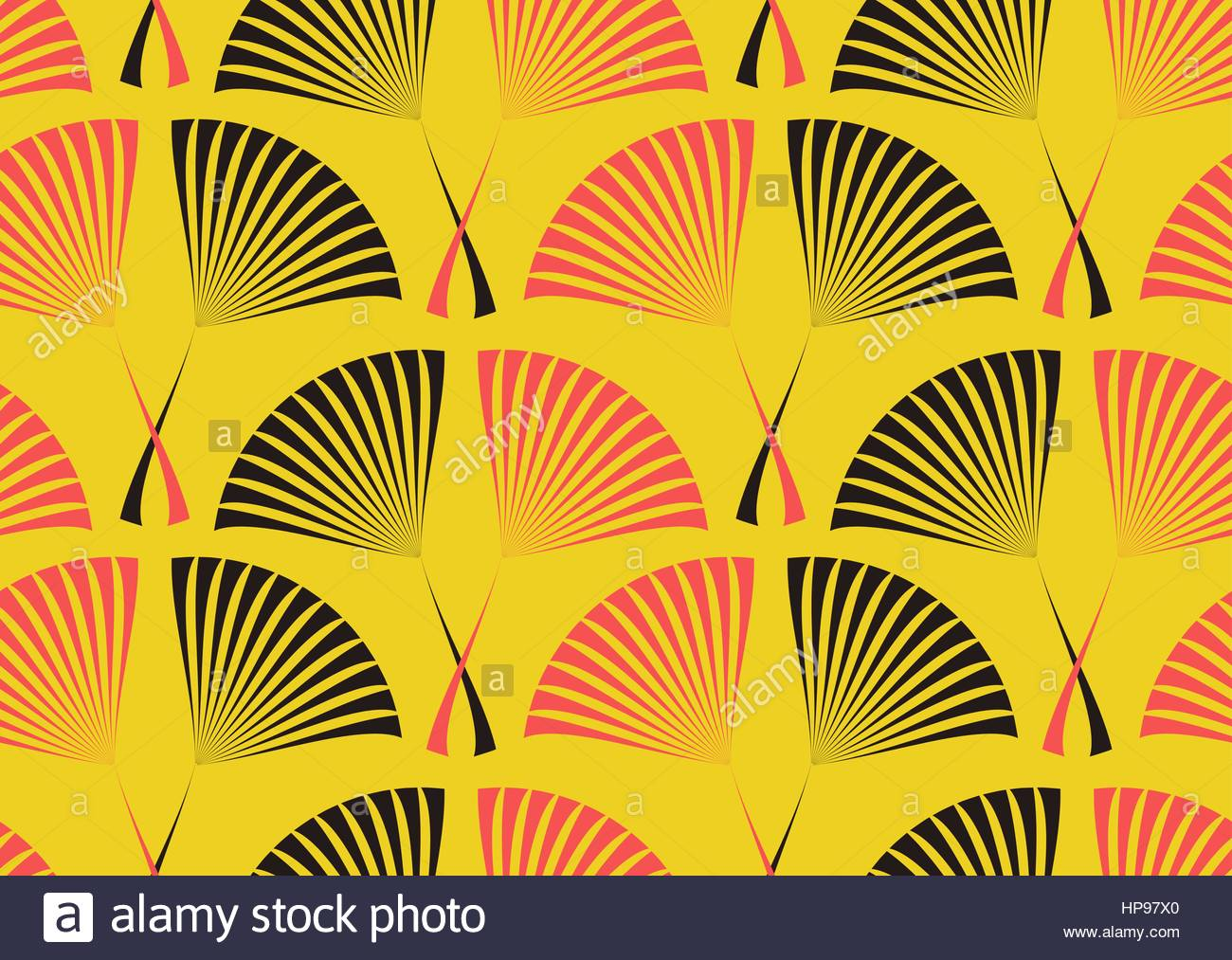 Seamless tile with a retro style pattern of palm leaves in yellow ...