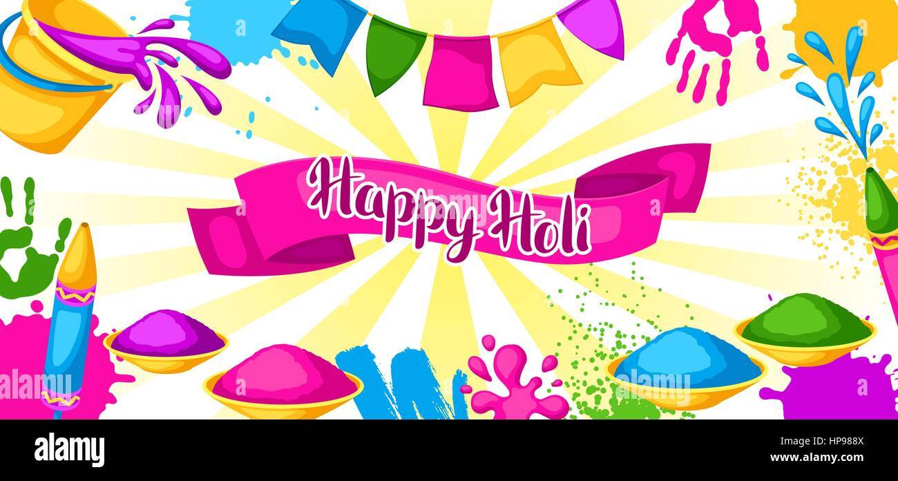 happy holi colorful banner illustration of buckets with paint