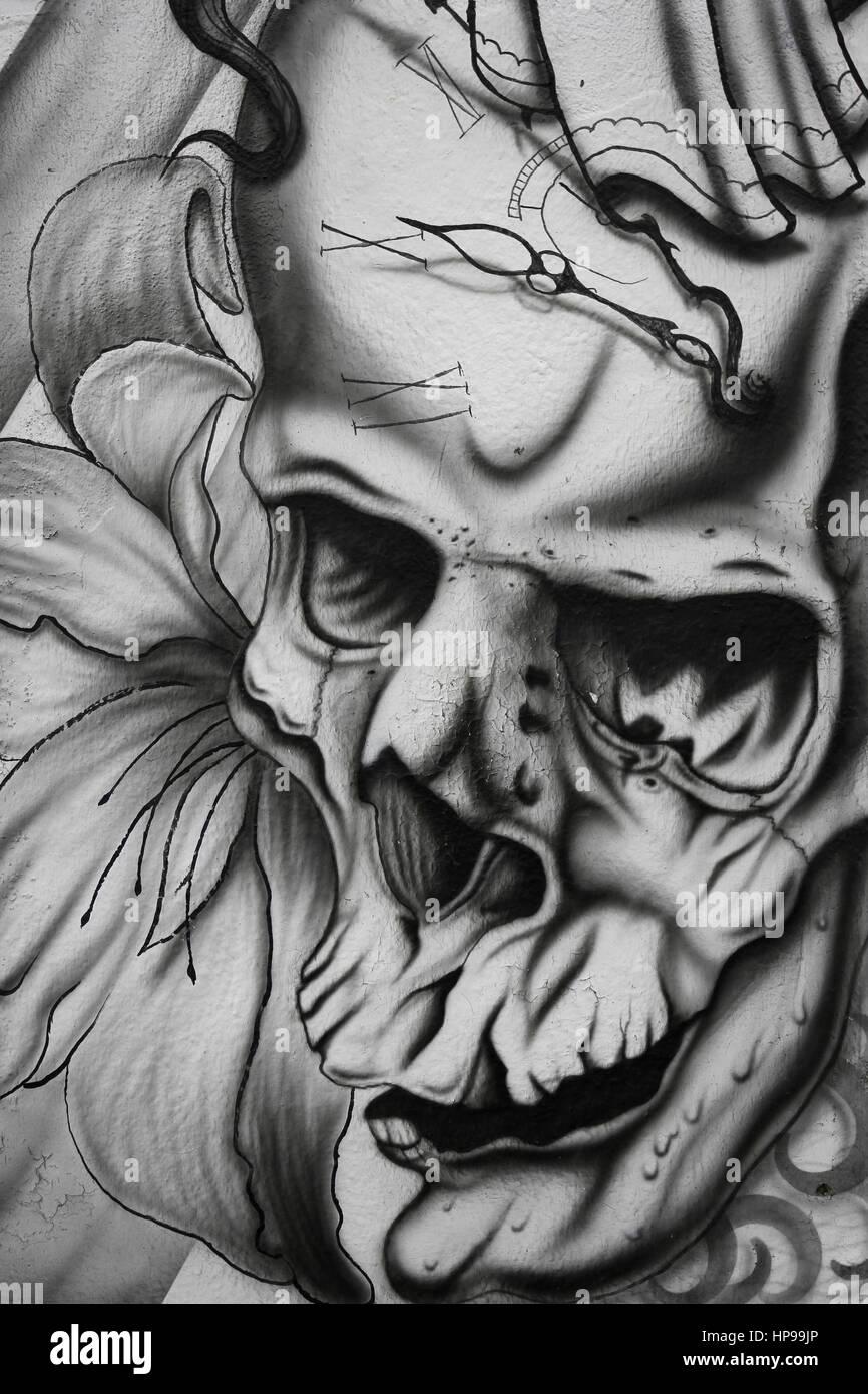 Black And White Skull Tattoo Design Stock Photo 134200158 Alamy