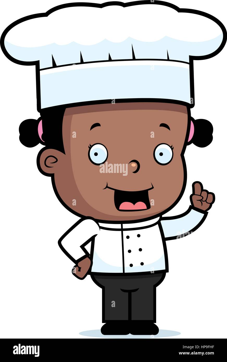 A happy cartoon child chef standing and smiling Stock Vector Art    Illustration b576facd678f