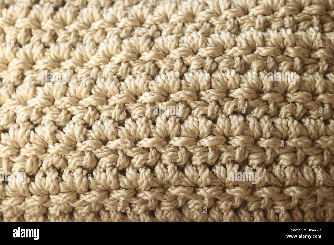 Close-up Neutral Color Double Crochet Stitch - Stock Image