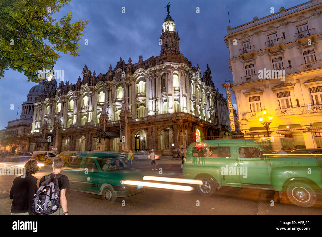 Gran Teatro de La Habana , Opera, Hotel Inglaterra, Paseo de Marti, Oldtimer, traffic, twilight, Havanna, Cuba Stock Photo