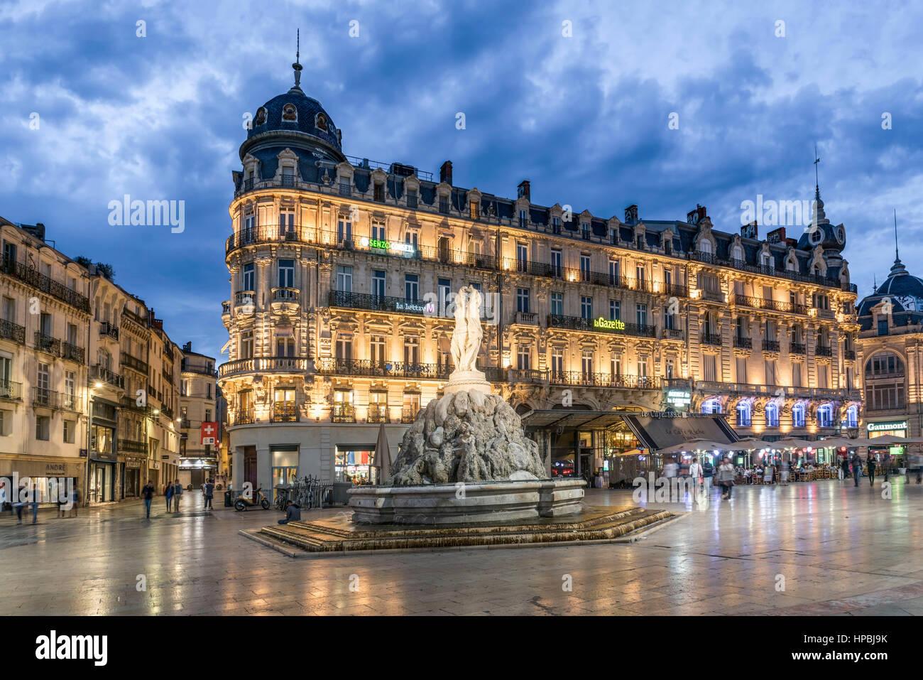 Place de la Comedie, Three graces fountain, Montpellier, France, Stock Photo
