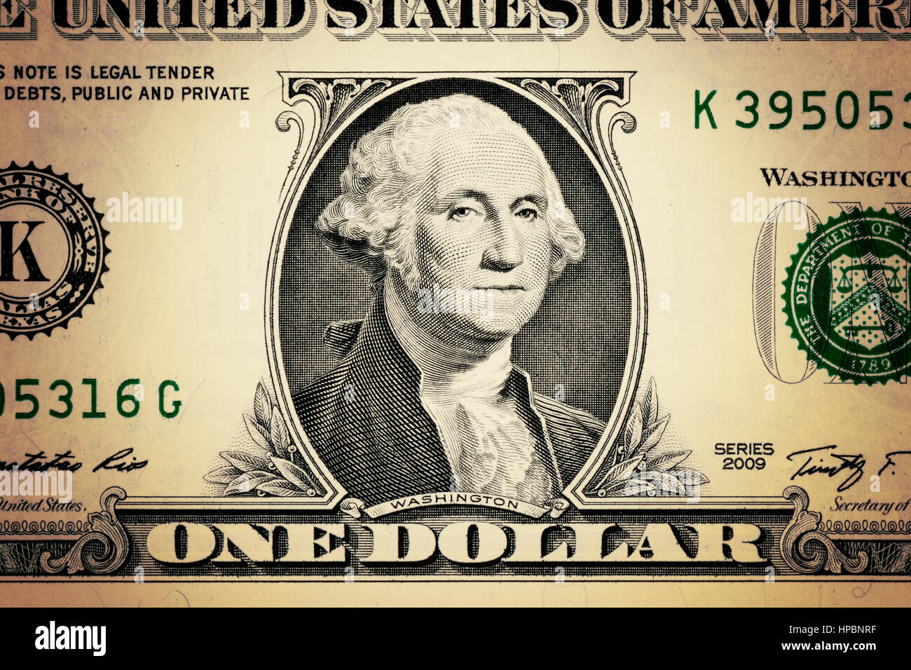 Closeup George Washington Face On The Us 1 Dollar Bill