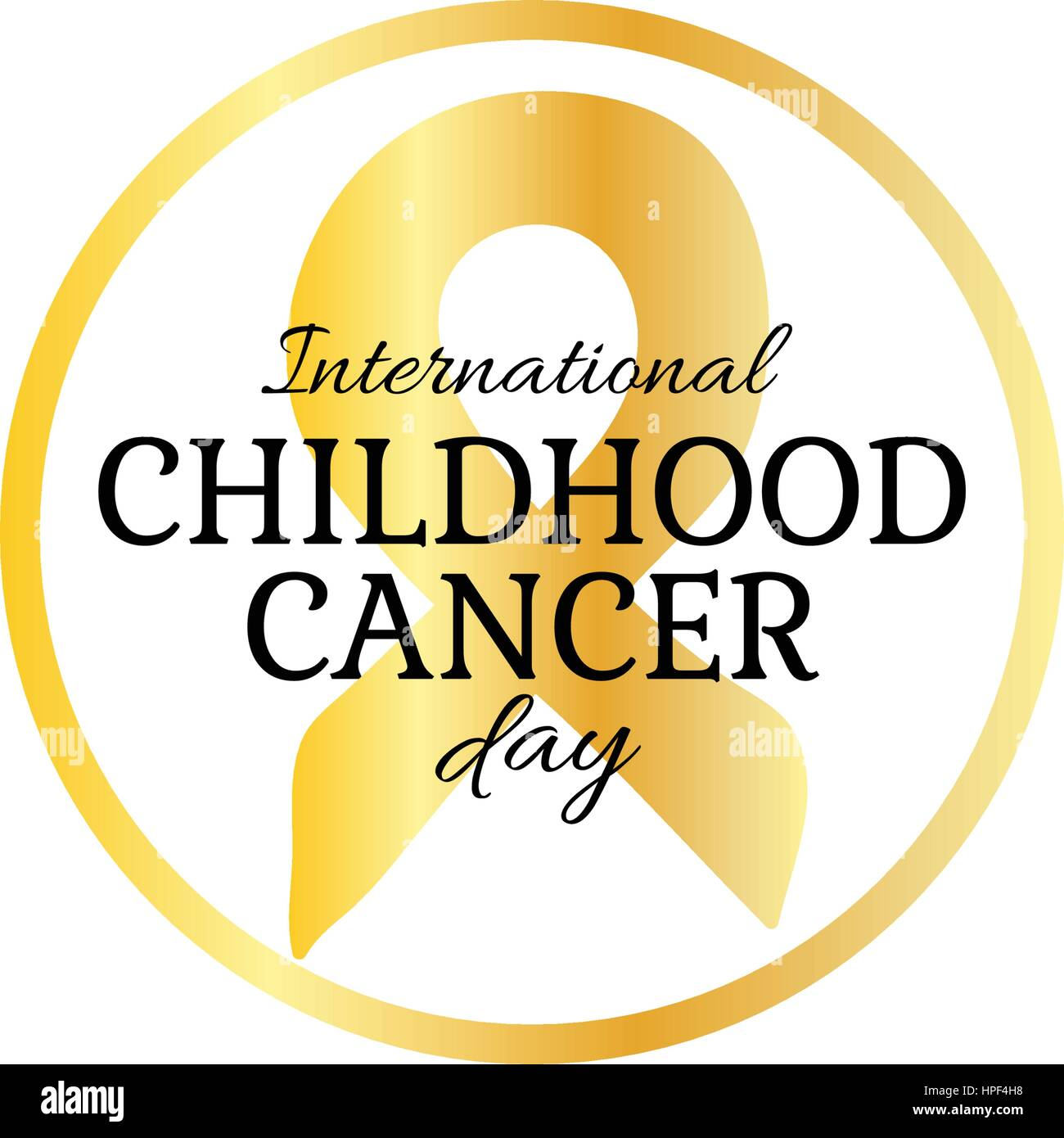 International Childhood Cancer Day Vector Design Element Golden