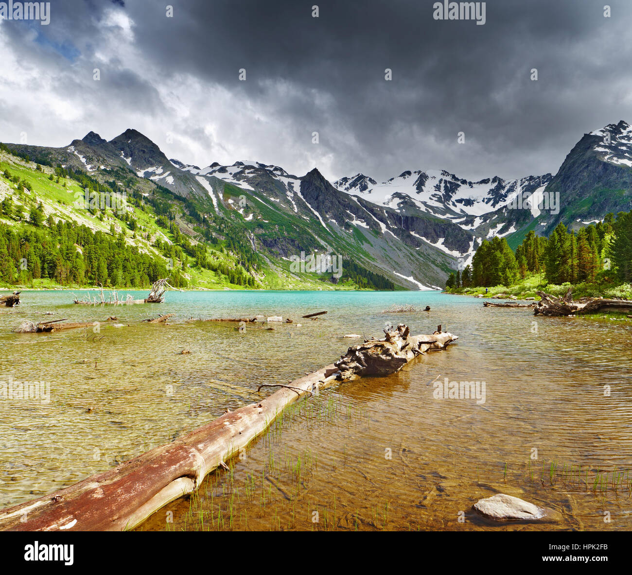 Mountain lake, Altai mountains, Russia - Stock Image