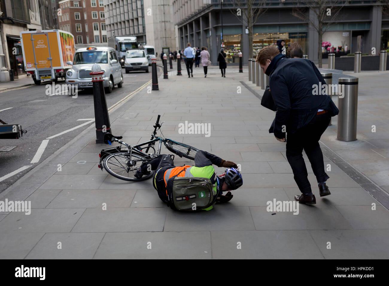 london-uk-23rd-february-2017-a-cyclist-l