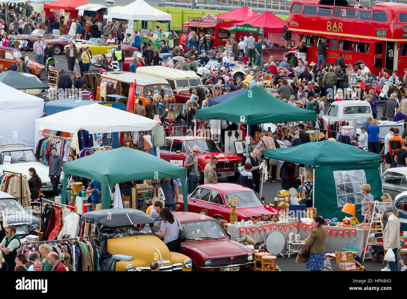 Classic car boot sale, stratford, London, uk Stock Photo