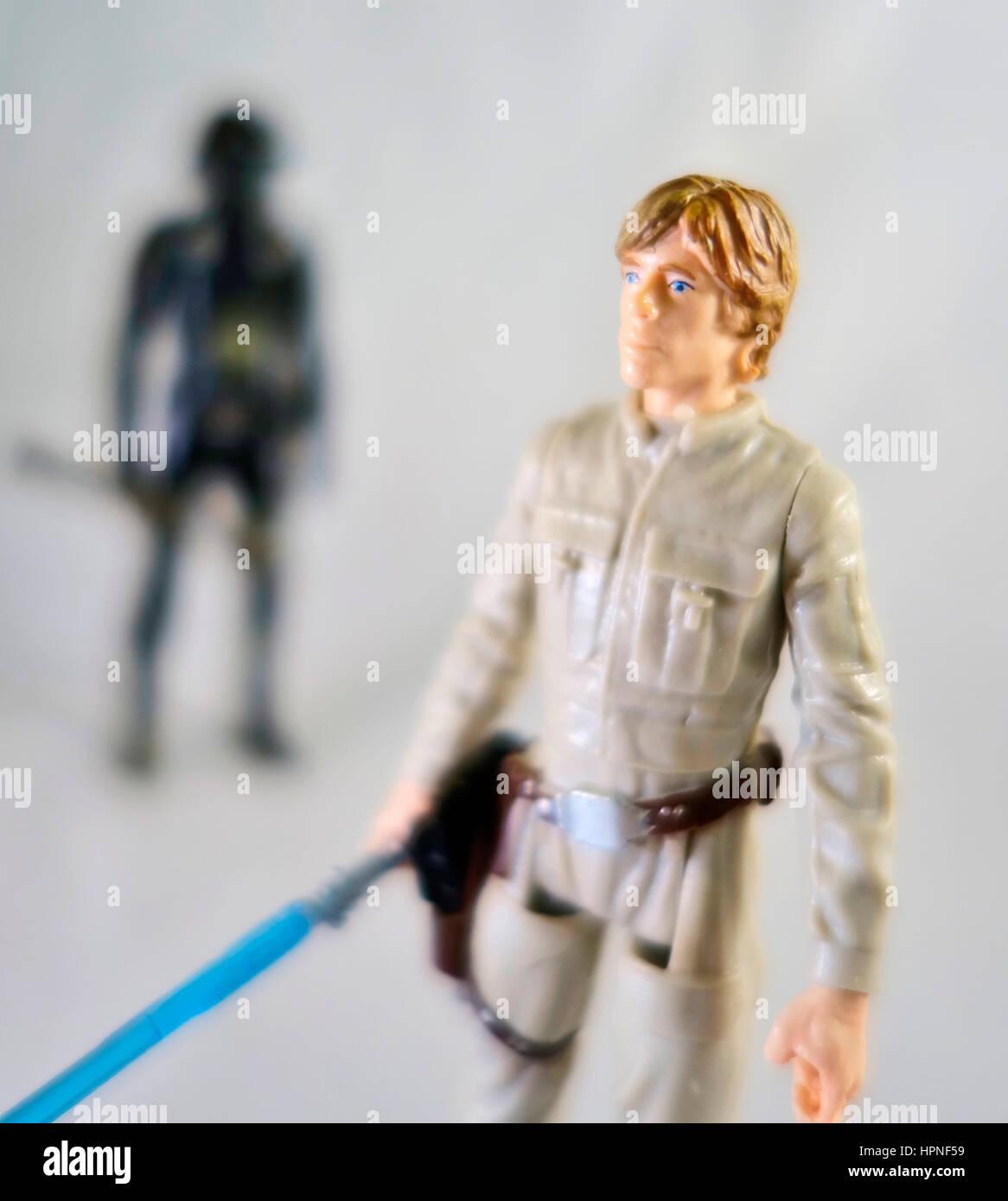 A Luke Skywalker Star Wars action figure - Stock Image