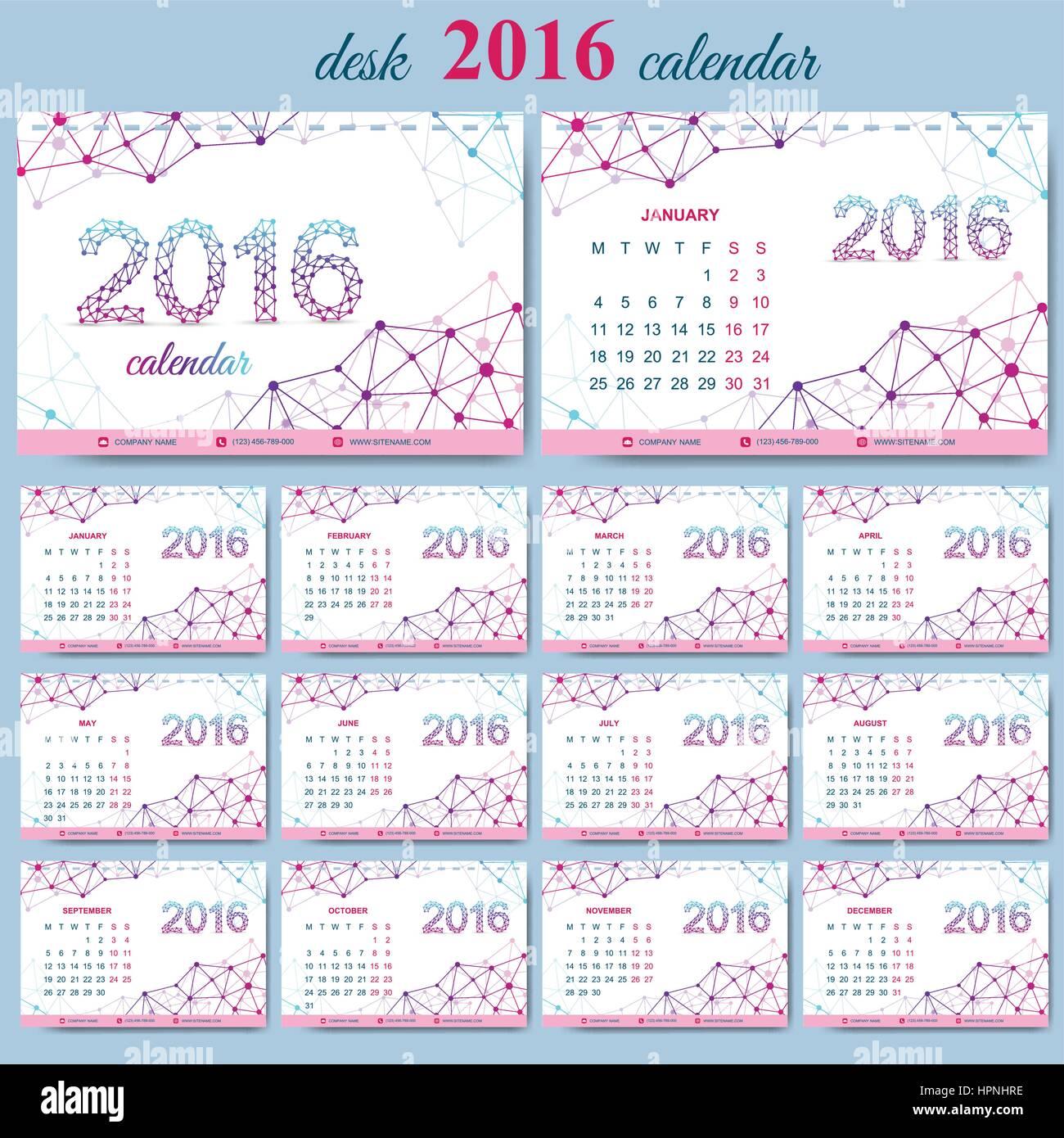 vector template desk calendar 2016 years week starts monday stock