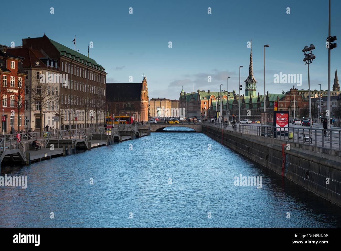 Børsen Stock Exchange Copenhagen by canal - Stock Image