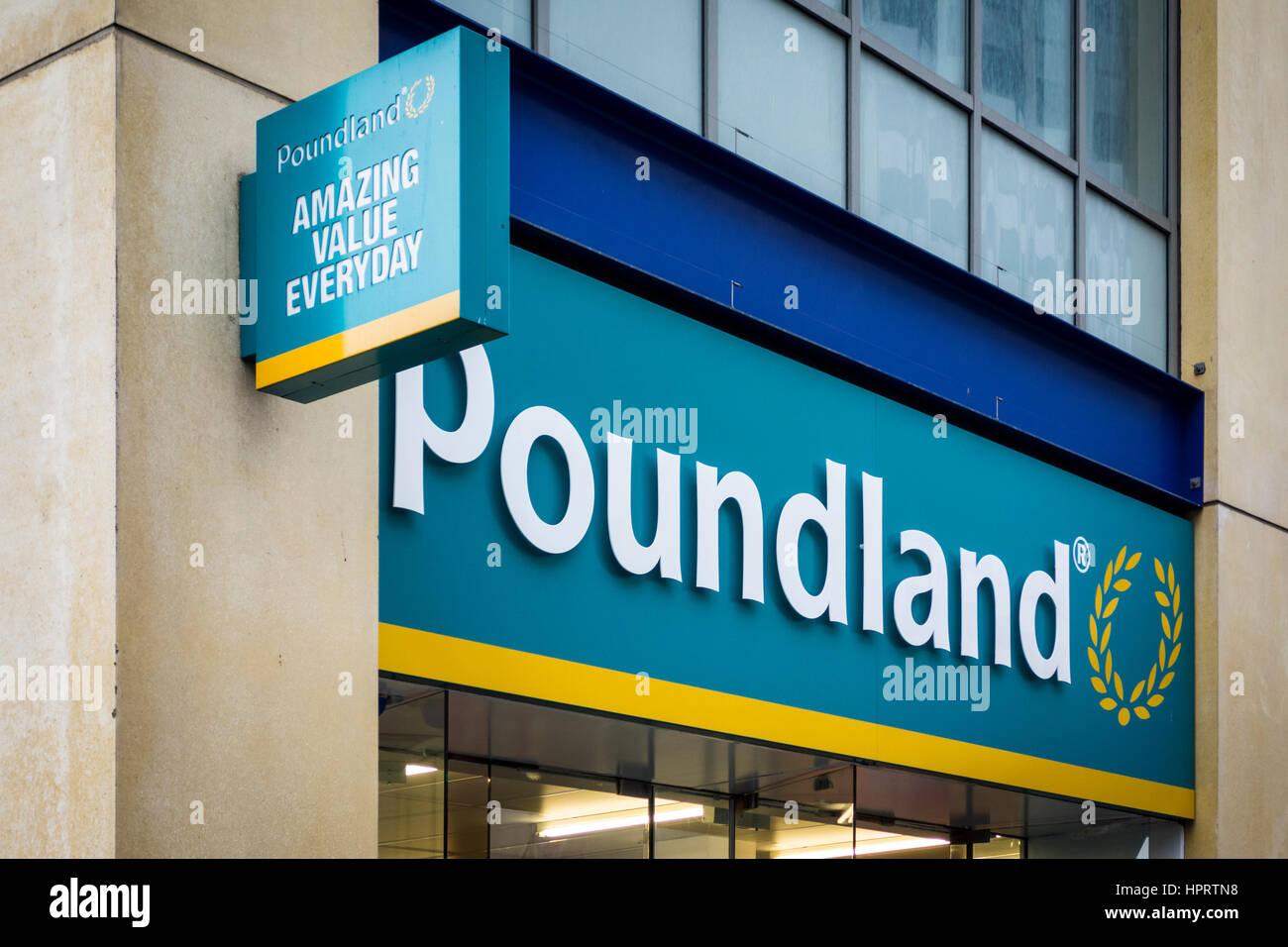 Poundland shop sign, Birmingham, UK - Stock Image