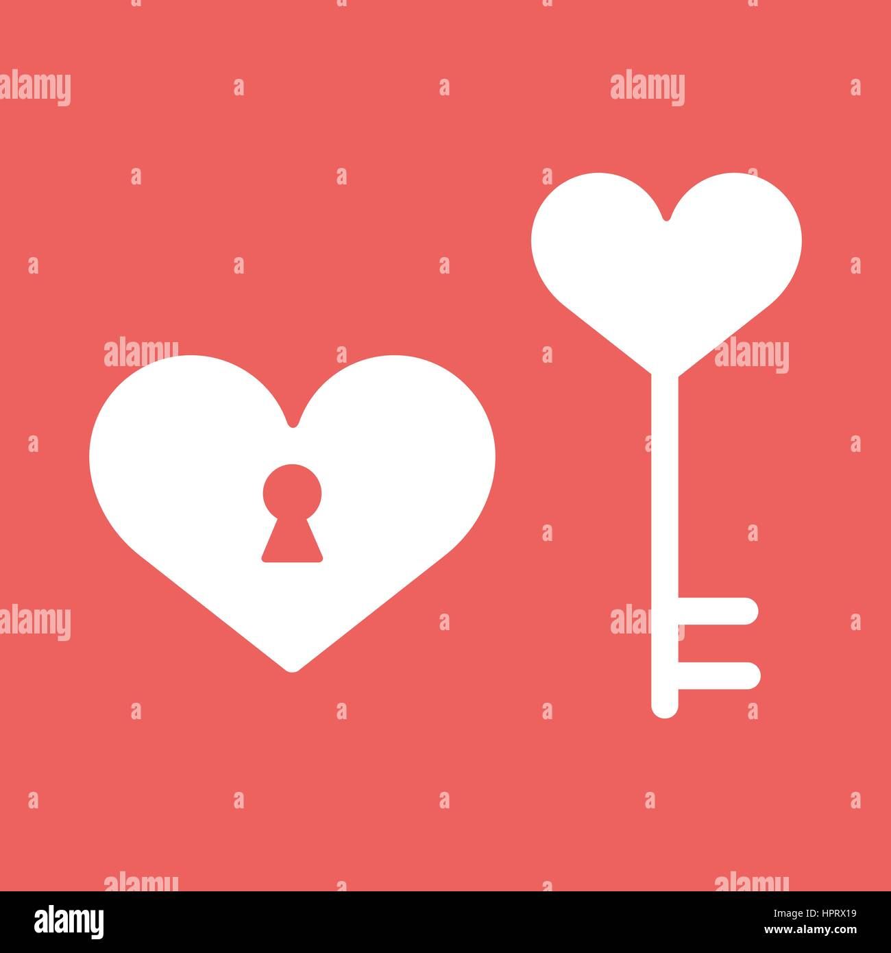 Heart Lock Happy Valentine Day Icon In Flat Minimalistic Style