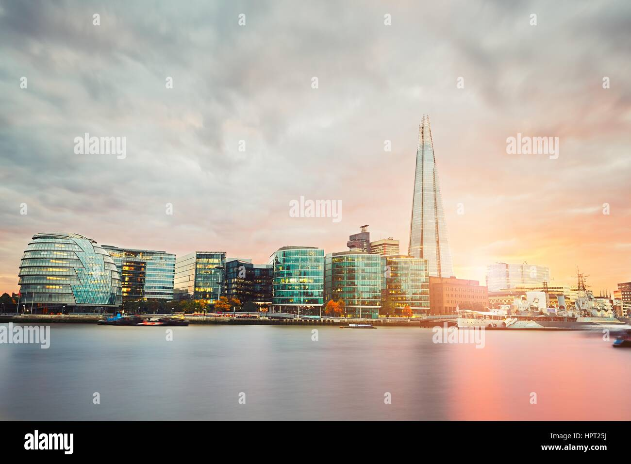 London skyline with City Hall and Shard at the sunset - The United Kingdom of Great Britain and Northern Ireland - Stock Image