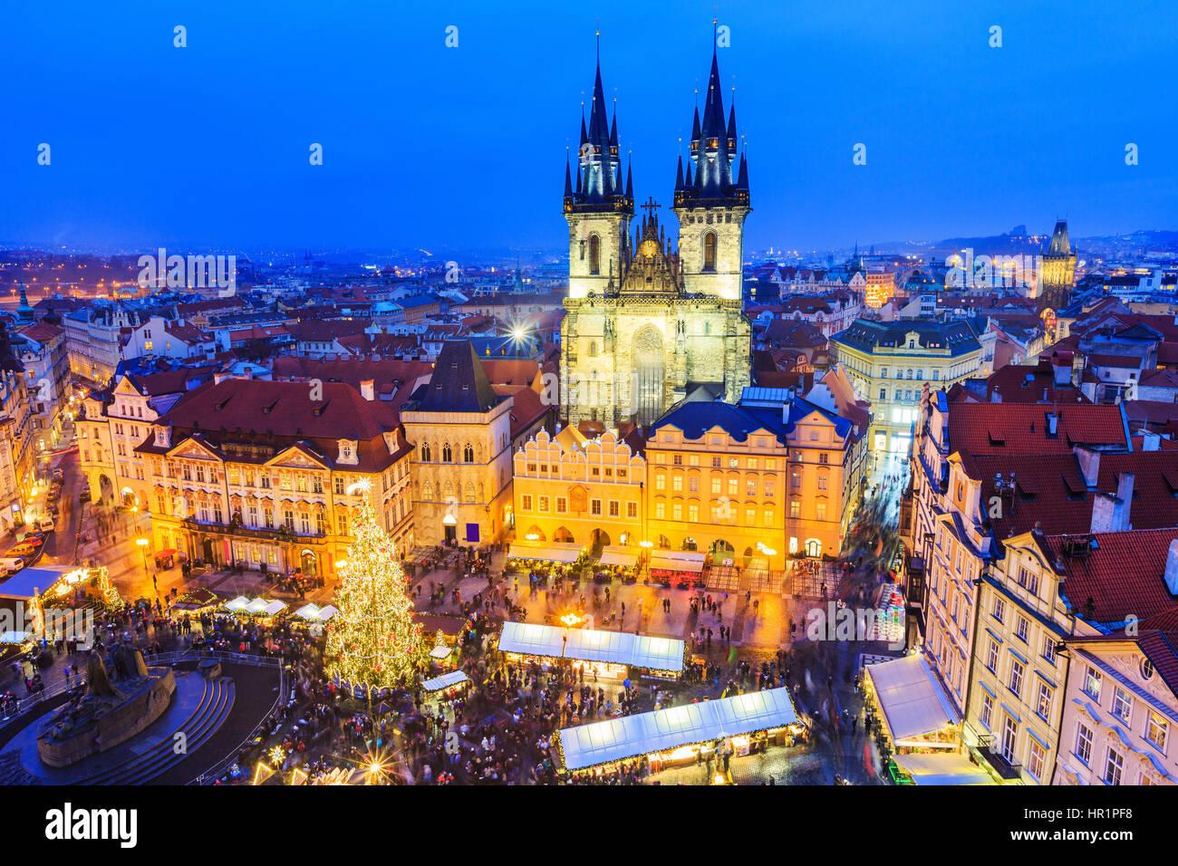 Prague, Czech Repubilc. Christmas market at Old Town Square. - Stock Image