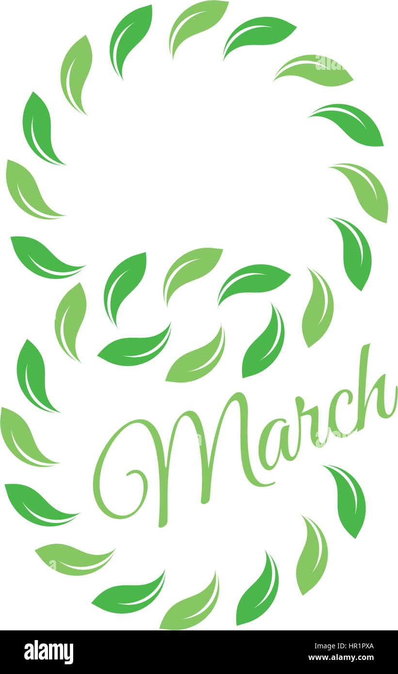Isolated green color number eight of leaves with word march icon ...