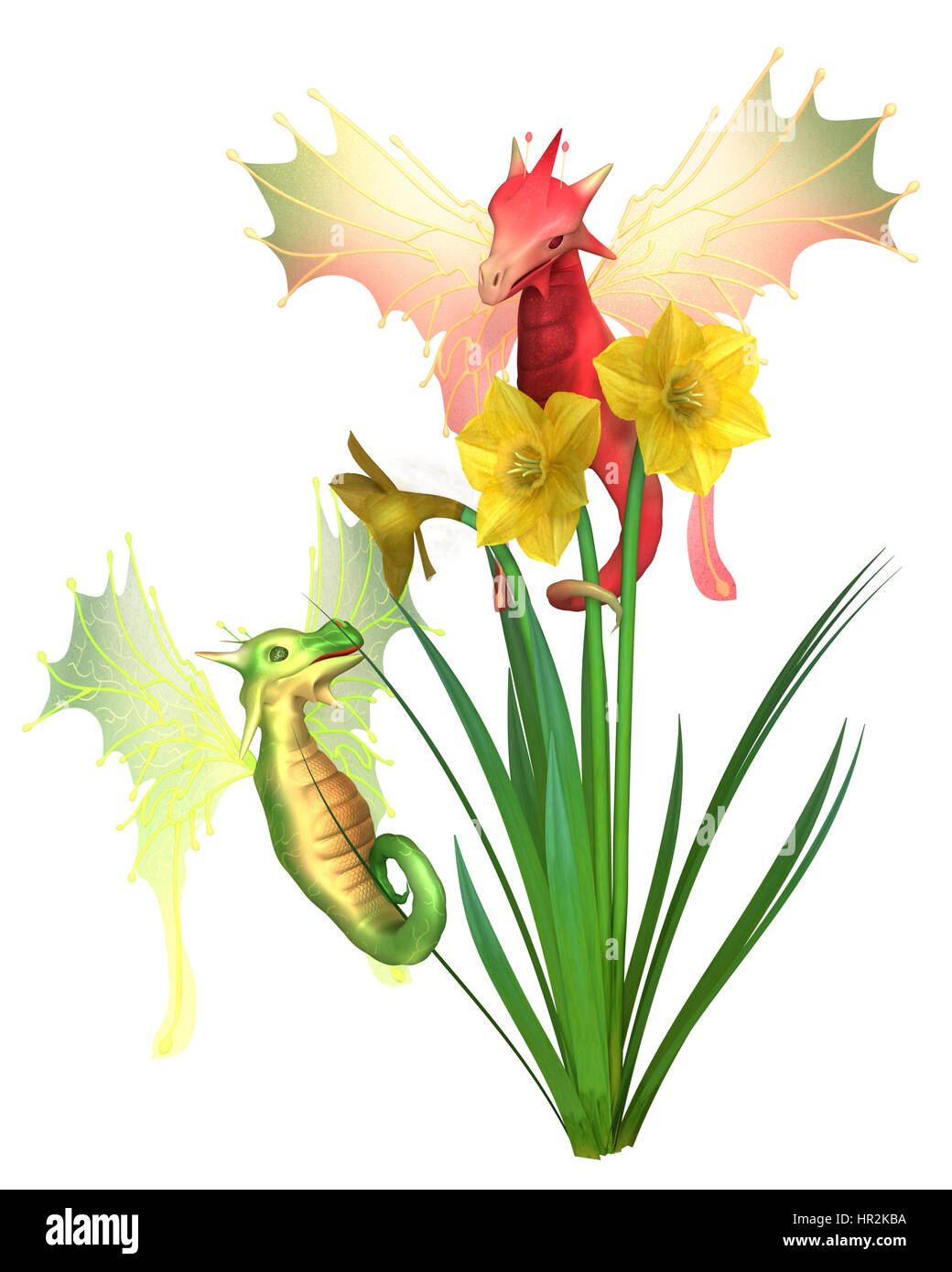 Fantasy illustration of cute red and green Welsh dragons and yellow daffodils for St David's Day, patron saint - Stock Image