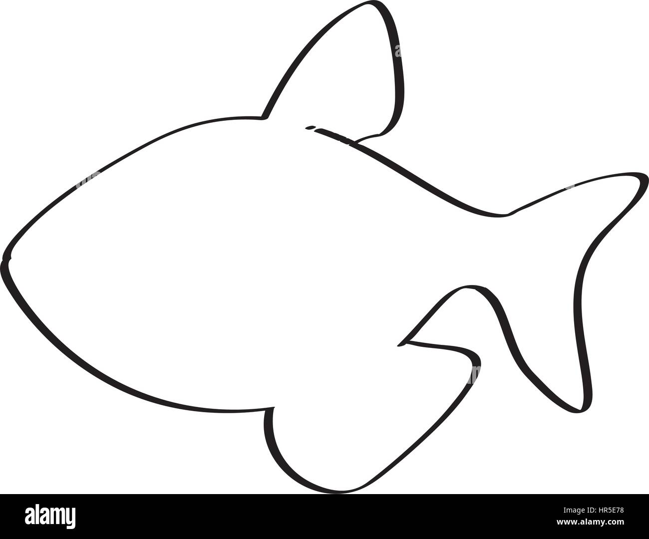 silhouette with line contour of fish Stock Vector Art & Illustration ...