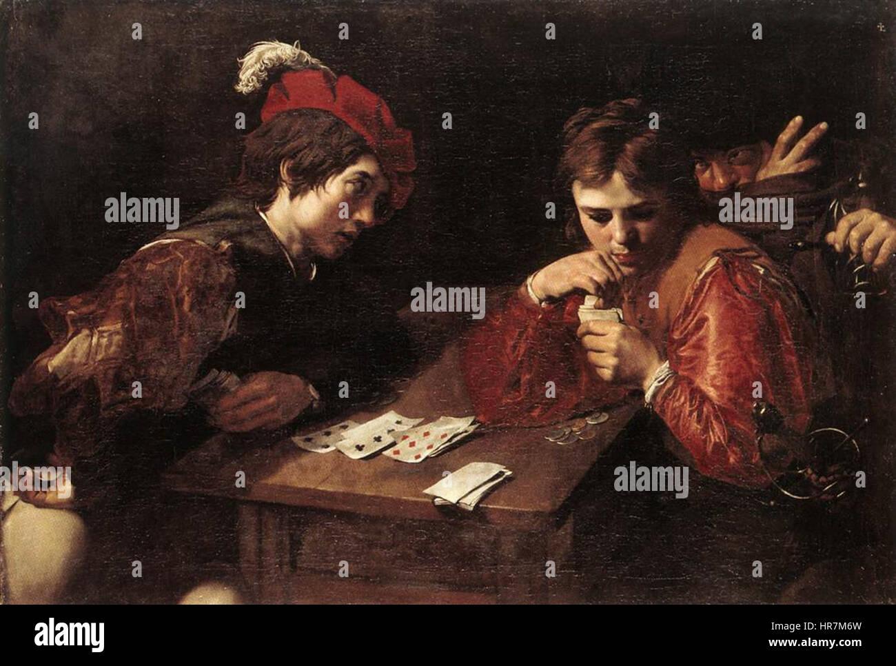 Valentin de Boulogne - Card-sharpers - WGA24233 - Stock Image