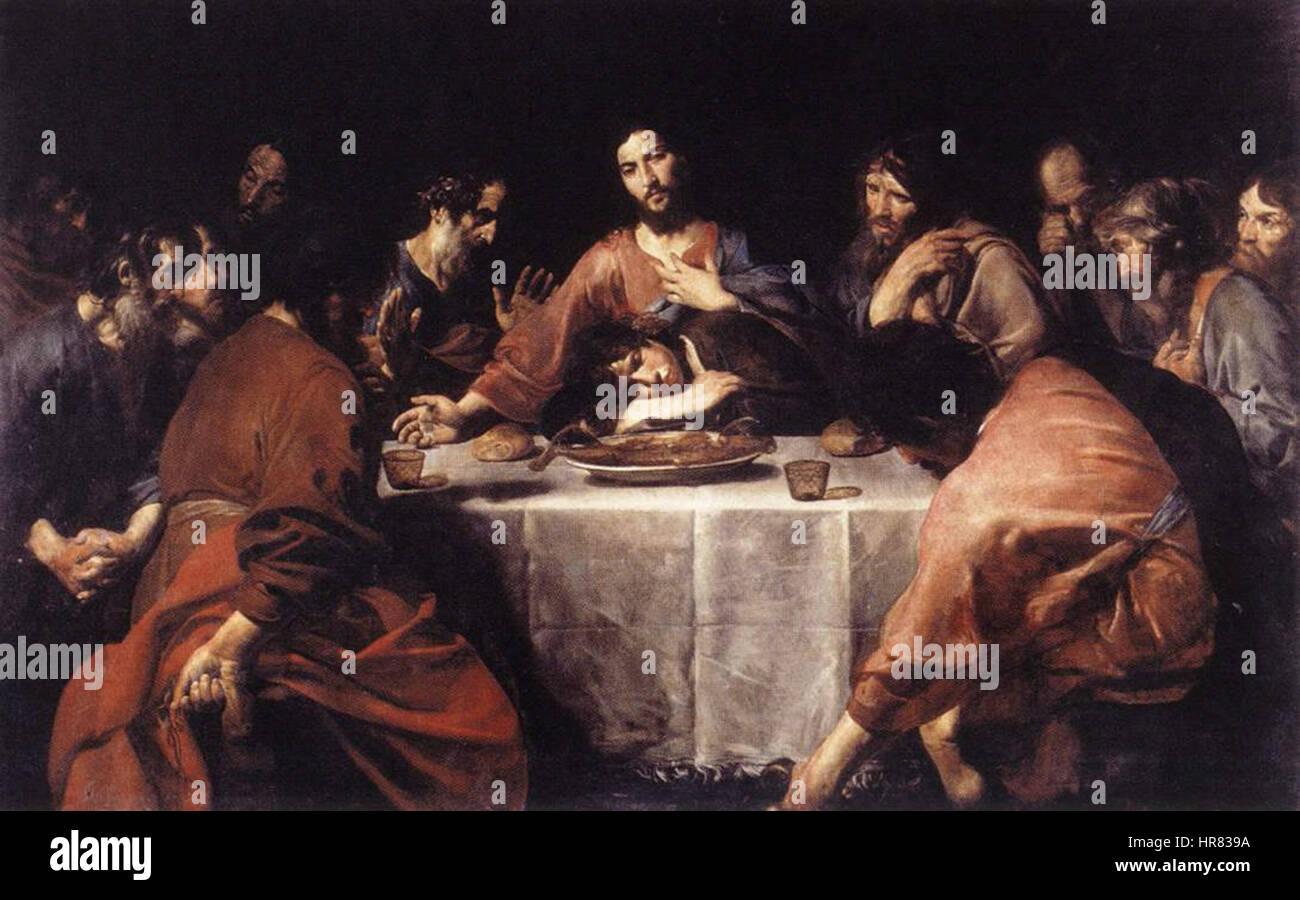 Valentin de Boulogne, Last Supper - Stock Image