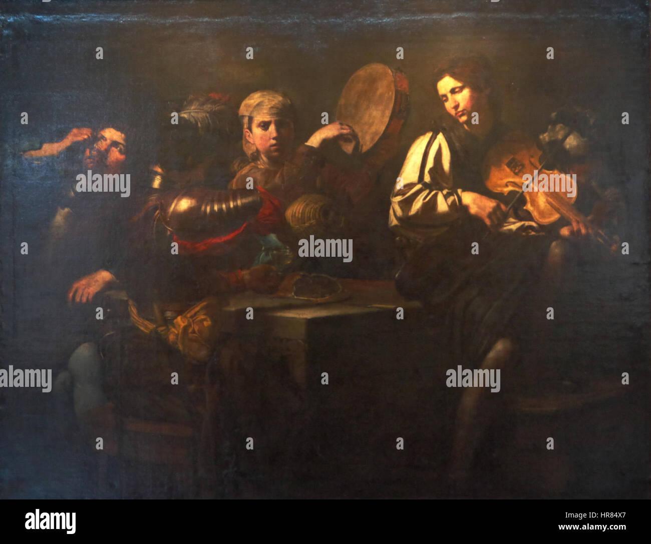 Valentin de Boulogne, Musiciens et soldats - Stock Image